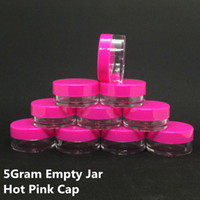 5ML 5Gram Cosmetic Clear Empty Face Cream Jar Hot Pink Cap S...