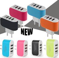 US EU Plug 3 chargeur mural ports USB 5V 3.1A LED Adaptateur Voyage Adaptateur pratique avec ports USB triple pour Samsung