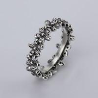 Atacado new Doce forma de flor 925 Thai prata Criativo com Mulheres Partido Limpar Moda jóias Anéis CZ Bow Anel Fit Pandora mulher anel