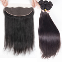 Unprocessed Human Hair Bundles With Lace Frontal Closure Che...