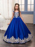 2017 Nouveau Royal Bleu Applique Robes De Fille De Fleur Graduation Sash Élégant Enfants Robe De Soirée Enfants Petites Filles Robe