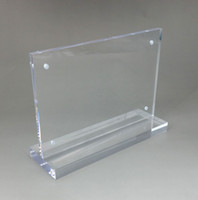 Clear Acrylic DL Labeling Sign Display Paper Card Label Advertising Menu Holders Horizontal T Stands By Magnet Sucked A3A4A5A6 On Desktop 2pcs