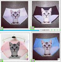 Mais novo Senhoras Roupa Interior Bonito 3D Calcinha de Gato Sexy Mid Cintura Cueca Conforto Cuecas Calcinha Animal Para As Mulheres Nylon Calcinhas