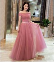 Dusty Pink Günstige Brautjungfernkleider Long Off The Shoulder Plissee Tüll Auf Lager Brautjungfernkleider Under 100 Wedding Party Dress