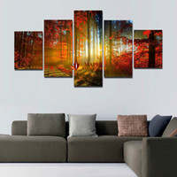 5 Panel Forest Painting Canvas Wall Art Picture Home Decorat...