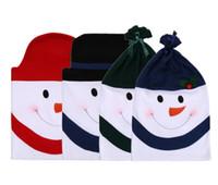 Cores sortidas Boneco de neve de Natal Cadeira de Volta Cobre para Decoração de Jantar de Natal, Conjuntos de Cap Cadeira para Festival de Festa Em Casa suprimentos Presente