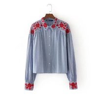 Floral Embroidery Long Sleeve Women Shirts 2017 Autumn New F...