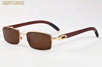 2020 mens semi sin montura blanca de madera de bambú cuerno de búfalo hombres mujeres hombre marco de plata de oro de la moda gafas de sol gafas de sol lunetas Gafas de Sol