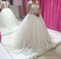 Robe de mariée de mariée élégante robe de boules de mariée Manches d'illusion à manches longues robes de mariée à manches longues et de robes de mariée de pays occidentale