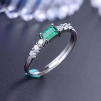 Simple design silver emerald wedding ring 3mm*5mm natural em...