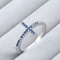 Blue Sapphire cross FashionNEW Exquisite Blue Sapphire cross Fashion 925 plata esterlina anillo de bodas para mujer Gemstone Promise Couple Ring