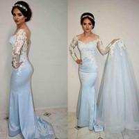 Vestido de festa Uzun Kollu Gelinlik Modelleri Ayrılabilir Tren V boyun Açık Mavi Geri Uzun Mermaid Arapça Abiye See Through