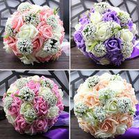 Bouquet De Mariée De Mariage De Cinq Couleurs 30 Main Roses De PE Buque De Noiva Fleurs De Mariage Bouquets De Mariée Pristian Zouboutin