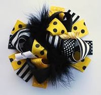 "5"" Child girls feather Hair Clips Ostrich oversize bow a..."