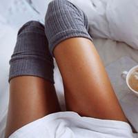All'ingrosso- 2017 sexy moda donna ragazza harajuku coscia alta calze alti calze al ginocchio in maglia di cotone lungo caldo sopra le calze al ginocchio