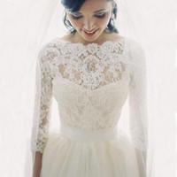 Neue Spitze Braut Shrug Wrap Cape Schal Bolero Jacke Mantel perfekt für Hochzeit Braut Brautjungfer 3/4 lange Braut Accessoires Wrap