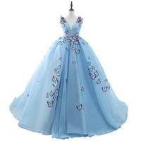 Nakış Kelebek Balo Düğün Elbise Prenses Robe De Mariage Açık Mavi Külkedisi Gelinlik Gelin Elbise Yeni Varış