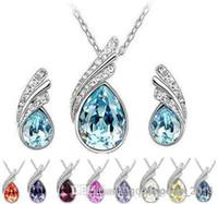 Set di gioielli in cristallo austriaco di alta qualità con collana di strass e orecchini moda donne set di gioielli di cristallo Z061