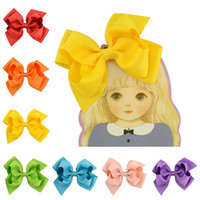 20Pcs 4. 5 Inch Solid Ribbon Hair Bow With Clip Kids Girls Bo...
