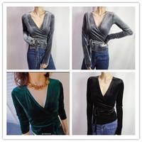 Sonbahar yeni moda kadın seksi v yaka uzun kollu tunik bodycon sashes İnce bel düz renk kadife gömlek bluz tops