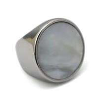 Vintage simple grande redondo blanco perla ópalo anillos de piedra joyas de plata de acero inoxidable boda delicada anillos de compromiso para las mujeres