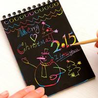 Atacado Criativo DIY risco de nota preto cartão Desenhar Esboço Notes for Kids Brinquedos Notebook fontes de escola Drawing Acessórios
