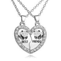 Gros-meilleur rayon de soleil meilleur ami lettre cristal brisé coeur correspondant collier pendentif mignon panda femmes belle fille bijoux nouveau