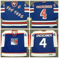 Mens 1978 Нью-Йорк Рейнджерс Рон Грешнер хоккей Джерси CCM Vintage # 4 Рона Грешнера Джерси прошитых Дешевого NYR Синего C Patch