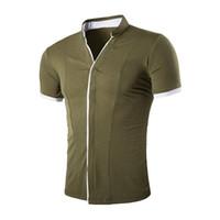Vente en gros-Été Élégant Vintage Hommes Chemises Solide Bouton Couvert Mandarin Col Manches Courtes Slim Fit Chemise Hommes Tops Camisa Masculina