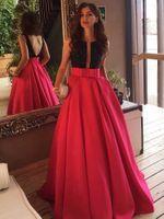 2021 Princess Scoop Neck Satin Schärpen / Bänder Sweep Zug Red Backless reizvolle Abschlussball-Kleider nach Maß formalen für besondere Anlässe Abendkleider