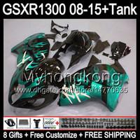 8gifts для Suzuki Хаябуса GSXR1300 08 15 GSXR-1300 голубого пламени 14MY25 GSXR 1300 системы GSX Р1300 08 09 10 11 12 13 14 15 обтекателя черный глянец комплект