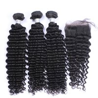 Lace Closures With 3 Bundles Brazilian Curly Virgin Human Ha...