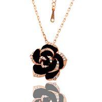 Collana ciondolo gioielli in oro 18k con fiore di alta qualità WGN008, A ++ Collane con gemme in oro bianco e rosa con catene