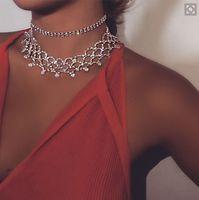 Moda Marka Pençe Kristal Tiara Chokers Kadınlar için Bildirimi Kolye Tıknaz Kolye Taçlar Takı Taklidi Yaka Düğün Aksesuarları