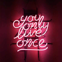 "17"" x14"" You Only Live Once Real Glass Neon Sign Be..."