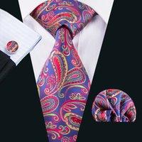 Оптовая Tie синий и красные галстуки для мужчин Бизнес Tie Handkercheif Запонки Подарочный набор для венчания Часть Пром N-1597