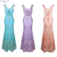 Angel-Fashions Mulheres V Neck Bordado Lace Flower Straps Sereia Dridesmaid Dress Run Fashions Party Vestidos 310