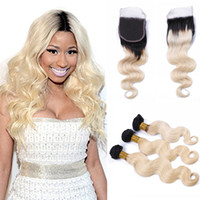 Ombre Body Wave Hair weft With Closure Natural Black and Ble...