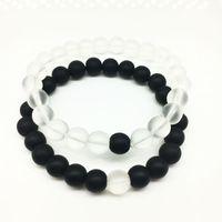 Moda 8mm Piedra natural Forma redonda Beads Lava Yoga Lover Charm Bracelets Joyería para mujeres Hombres