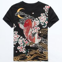 Оптовая продажа-японский прилив бренд одежды 2016 мужская мода Карп татуировки печати футболка 100% хлопок с коротким рукавом лето футболка для мужчин 3XL тройники