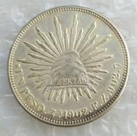 MO 1Uncirculated 1902 المكسيك 1 بيزو عملة فضية الخارجية عالية الجودة براس حرفة الحلي