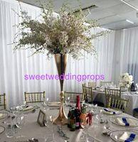 Düğün masa centerpiece için gümüş kaplama trompet altın zihinsel vazolar