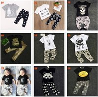 Bébé INS fox stripe lettre Costumes Enfants Toddler Infant Casual À Manches Longues T-shirt + pantalon 2 pcs ensembles pyjamas vêtements nouveau-nés BY0006