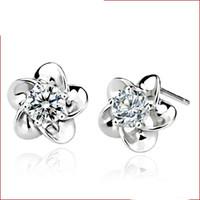 100 pares brincos Preço de Fábrica para as mulheres da moda jóias barato brinco 925 sterling silver Bonito Flor garra hipoalergênico novo