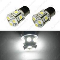 FEELDO 2 PCS Blanc 12V 1156 BA15S P21W Voiture LED Lumière 13SMD 5050 Frein Clignotant Ampoule Lampe # 3069