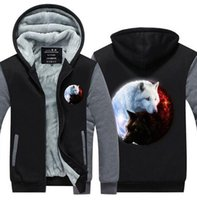 Quality Pullover Fashion Thicken Zipper Fleece Yin- Yang Wolf...
