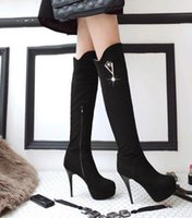Wholesale New Arrival Hot Sale Specials Super Fashion Influx Warm Female Pointed Suede Elegant Platform Hollow Canister Knee Boots EU34-45 choice for sale shop for cheap online in China cheap online sale latest collections 7atg56pX6