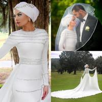 Ultimi 2017 manica lunga musulmano bianco chiffon abiti da sposa con staccabile gonna lunga in rilievo cattedrale treno abiti da sposa EN12263