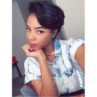 Brazilian Human hair Straight Pixie Cut cheap short human ha...