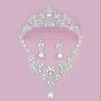Brillante corona floral nupcial collar pendientes conjunto Tiaras accesorios de la joyería nupcial conjuntos banquete de boda S003 Aguja o clip del oído